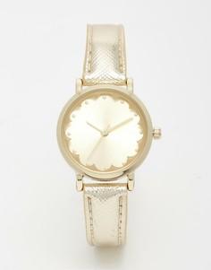 Золотистые часы с фигурной отделкой на циферблате New Look - Золотой