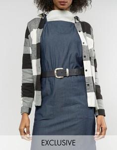 Кожаный ремень под джинсы Retro Luxe London - Черный