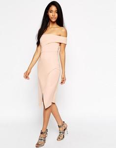 Асимметричное платье-бандо на одно плечо ASOS - Розовый