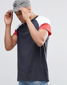 Темно-синяя футболка с контрастными рукавами New Look - Темно-синий