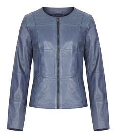 Кожаная куртка-жакет на молнии с прострочкой La Reine Blanche