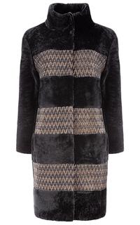 Утепленное пальто из овчины с отделкой натуральной кожей Virtuale Fur Collection