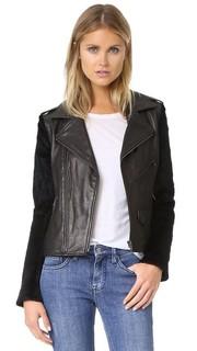 Кожаная куртка с меховыми рукавами June