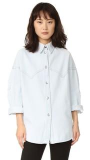 Рубашка из выцветшего денима на пуговицах MM6
