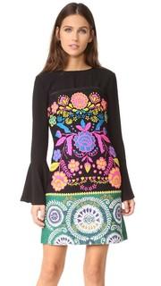 Платье без бретелек из твида с цветочным рисунком Cynthia Rowley