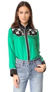 Шелковая рубашка с вышивкой на кокетке Cynthia Rowley