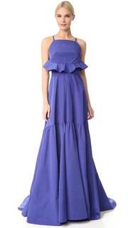 Вечернее платье с оборкой сзади Lela Rose