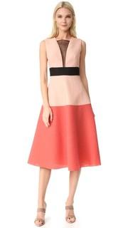 Платье с цветными блоками Lela Rose