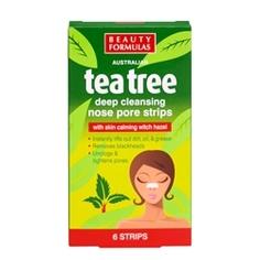 BEAUTY FORMULAS Полоски для глубокого очищения пор носа Чайное дерево 6 шт.