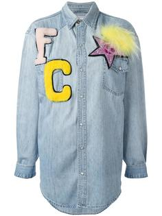 джинсовая рубашка с меховыми нашивками Forte Couture