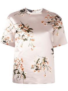 блузка с цветочным принтом и короткими рукавами Rochas