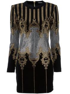 мини-платье с барочным мотивом и заклепками Balmain