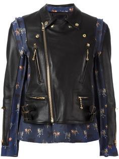 кожаная куртка с контрастными вставками Undercover