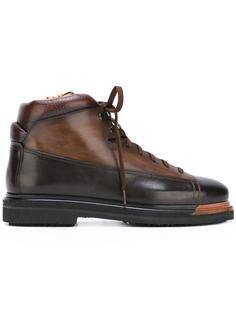 двухцветные ботинки на шнуровке Santoni