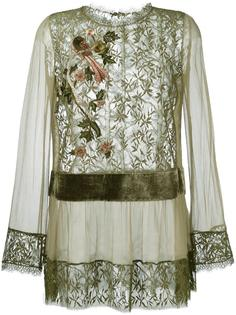 кружевная полупрозрачная блузка  Alberta Ferretti