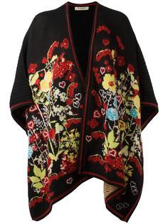 floral intarsia knitted poncho Piccione.Piccione