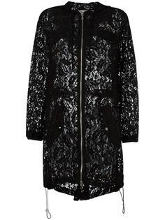 кружевное пальто с капюшоном Moschino