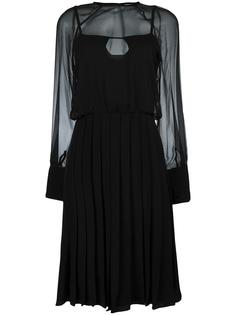 pleated sheer sleeves dress Zeus+Dione