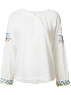 блузка с вышивкой на рукавах The Great
