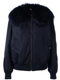куртка бомбер с воротником из меха енота Mr & Mrs Italy
