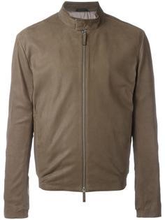 кожаная куртка с воротником-стойкой Armani Collezioni