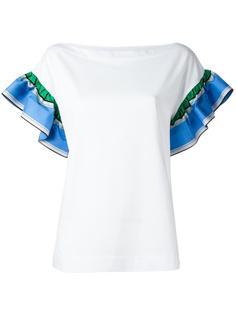 блузка с короткими рукавами с оборками Emilio Pucci
