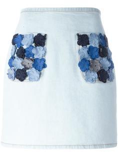 джинсовая юбка с цветочной аппликацией Fendi
