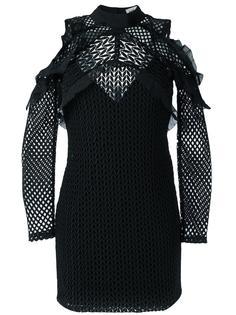приталенное платье с вырезами за плечах Self-Portrait