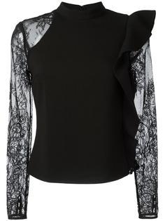 прозрачная блузка с асимметричными рюшами Self-Portrait