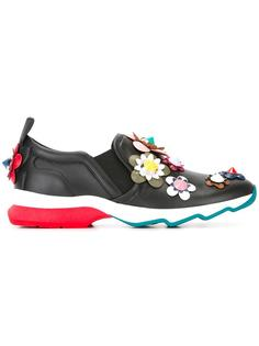 flower appliqué slip-on sneakers Fendi