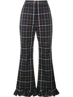 клетчатые брюки с оборками снизу A.W.A.K.E