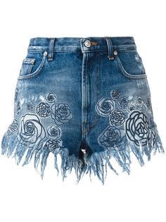 джинсовые шорты с принтом роз Versus