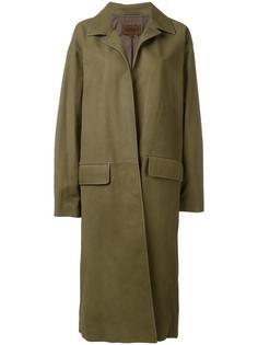 кожаное пальто без застежки Yeezy
