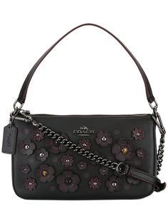 декорированная сумка-тоут с цветочным украшением Coach