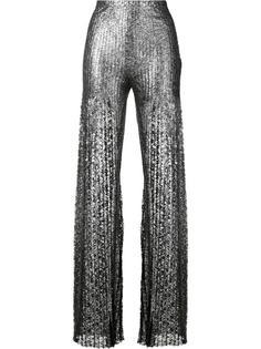 расклешенные брюки с отделкой металлик Huishan Zhang