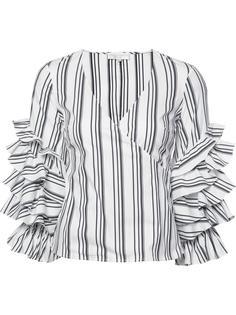 полосатая блузка с рюшами на рукавами Caroline Constas