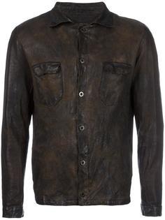 кожаная куртка с потертой отделкой Salvatore Santoro