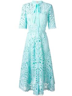 berry lace neck tie dress Temperley London