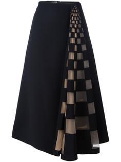 юбка с клетчатой тюлевой вставкой Fendi