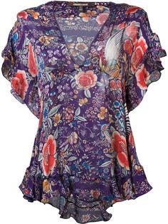 блузка с оборками и цветочным рисунком Roberto Cavalli