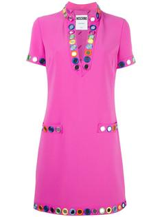 декорированное платье с V-образным вырезом Moschino