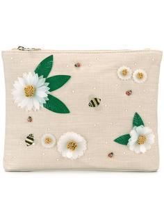 клатч с цветочной отделкой Charlotte Olympia