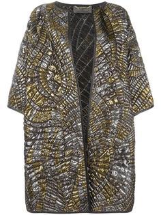 стеганое пальто с эффектом металлик Alberta Ferretti