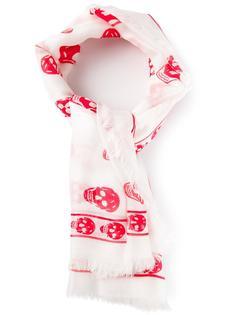 шарф с принтом черепа Alexander McQueen