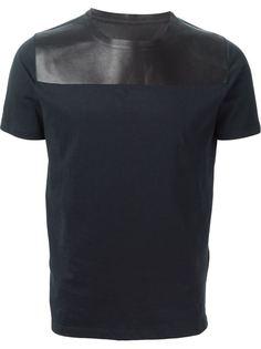 футболка с панелью из кожи ягненка Valentino