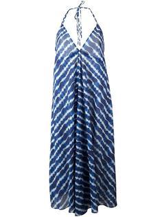 полосатое платье с глубоким вырезом Tory Burch
