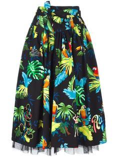 расклешенная юбка с поясом и рисунком с попугаями Marc Jacobs
