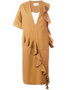 асимметричное платье с рюшами Maison Margiela