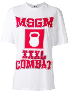 футболка с принтом логотипа MSGM