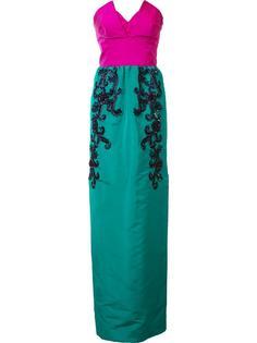 платье-бюстье с вышивкой и бисером Oscar de la Renta